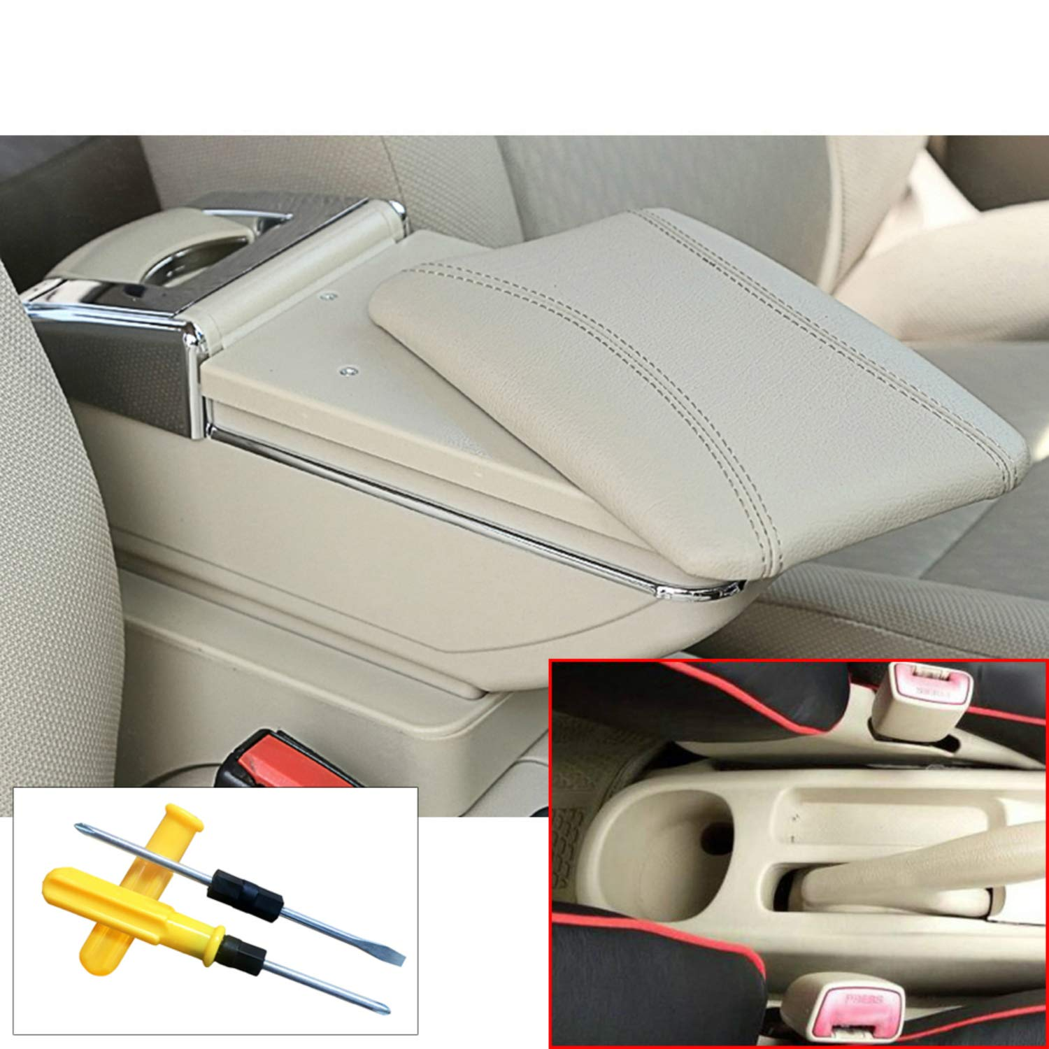 for Toyota VIOS 02-07 Car Center Consoles Armrest Storage Box Accessories,Arm Rest,with Cup Holder,Removable Ashtray,Black