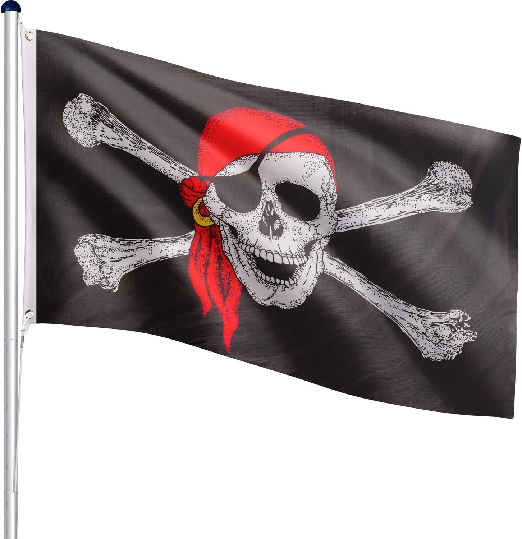 Flag Master Asta de aluminio de 6,5 m + Bandera, Juego Completo, 18 diferentes banderas a elección, 5 alturas, 3 años de garantía, pirata