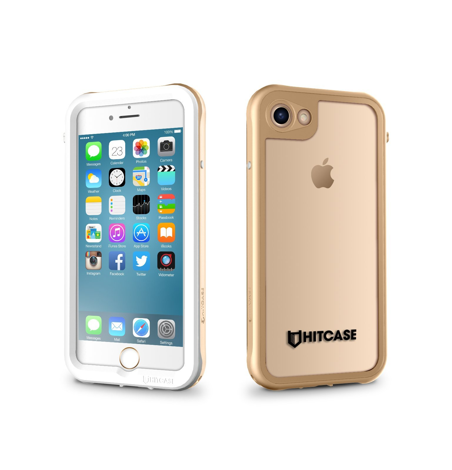 HITCASE Shield Ultra Thin Stylish Clear Fully Sealed Protective Durable Aluminum Dustproof Waterproof Case for iPhone 7 and iPhone 8 - Gold