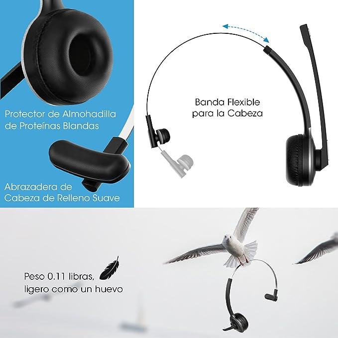 Mpow Auriculares Bluetooth con Micrófono para Oficina, 13 Horas de Conversación, Ligero Manos Libres, Cancelación de Ruido para Llamdas Conductores ...