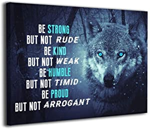 KFD9 Motivational Wall Art Inspirational Quotes Office Canvas Poster Print Framed Artwork Mindset Like A Wolf Home Decor for Living Room Bathroom Decoration 16x20inch