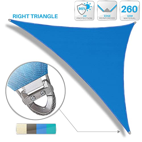 PATIO Large Sun Shade Sail 6 x 6 x 6 Equilateral Triangle Heavy Duty Strengthen Durable Outdoor Canopy UV Block Fabric A-Ring Design Metal Spring Reinforcement 7 Year Warranty -Blue