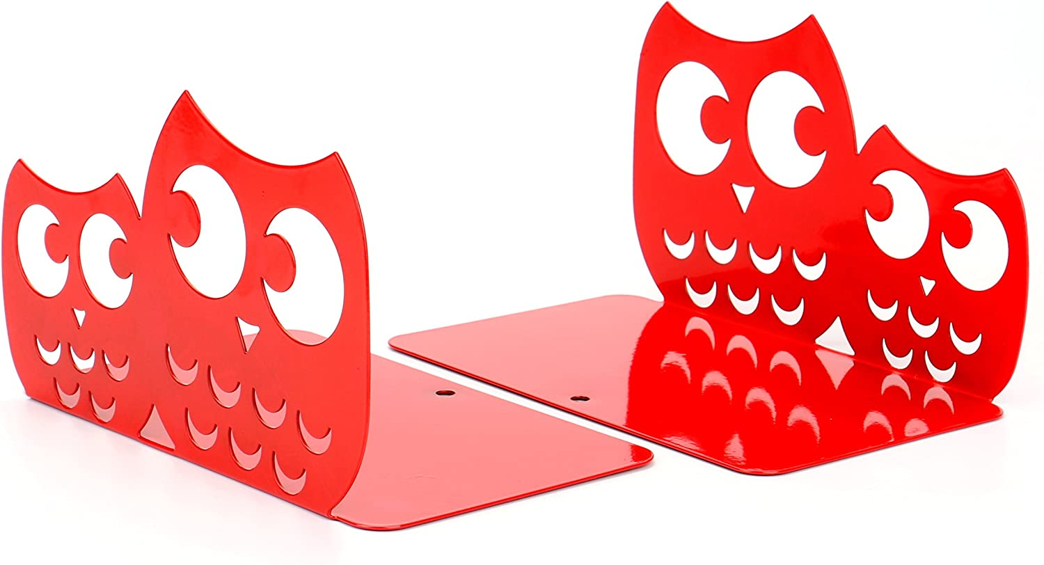 Fasmov Owls Nonskid Bookends Cute Bookends Art Bookends,1 Pair (Red)