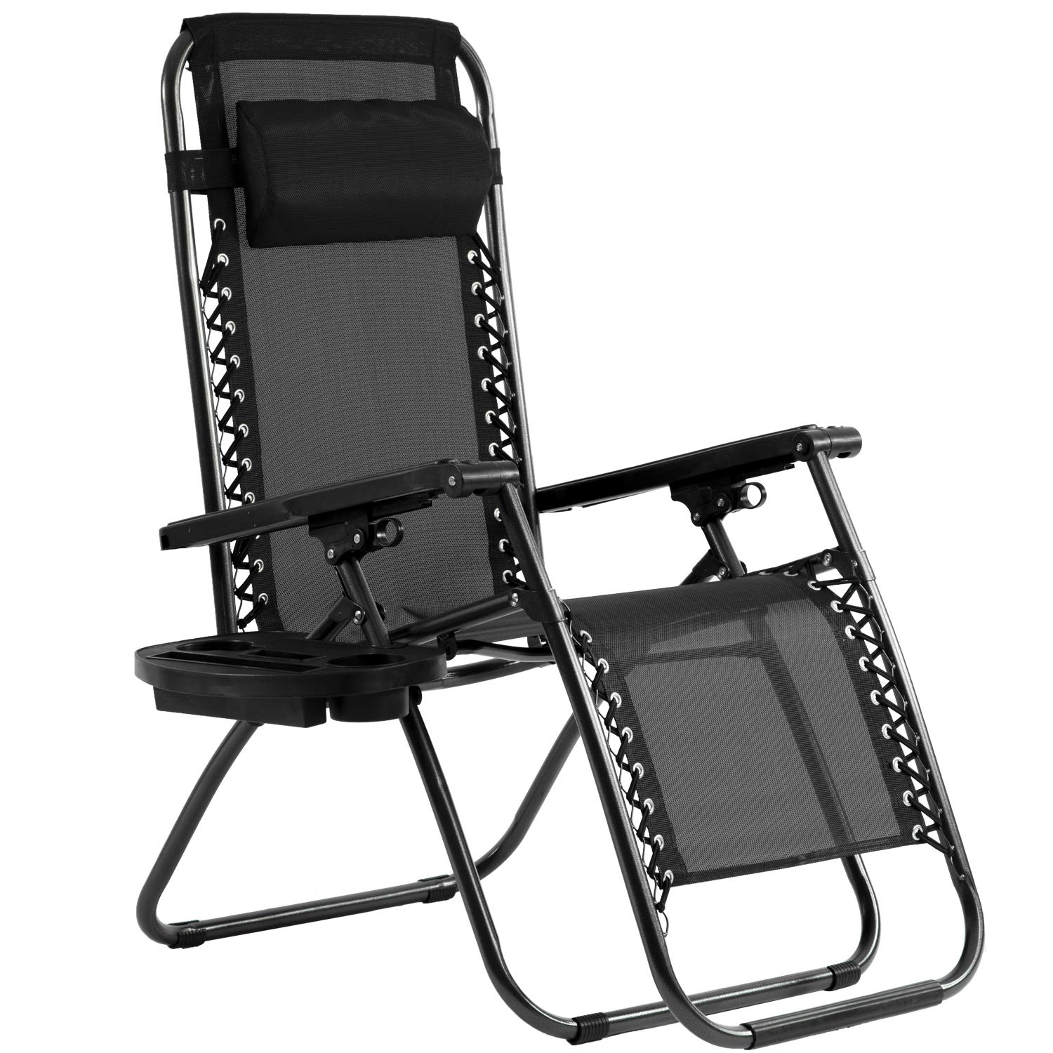 BestMassage Zero Gravity Lounge Patio Chairs with with Canopy Cup Holder, Black