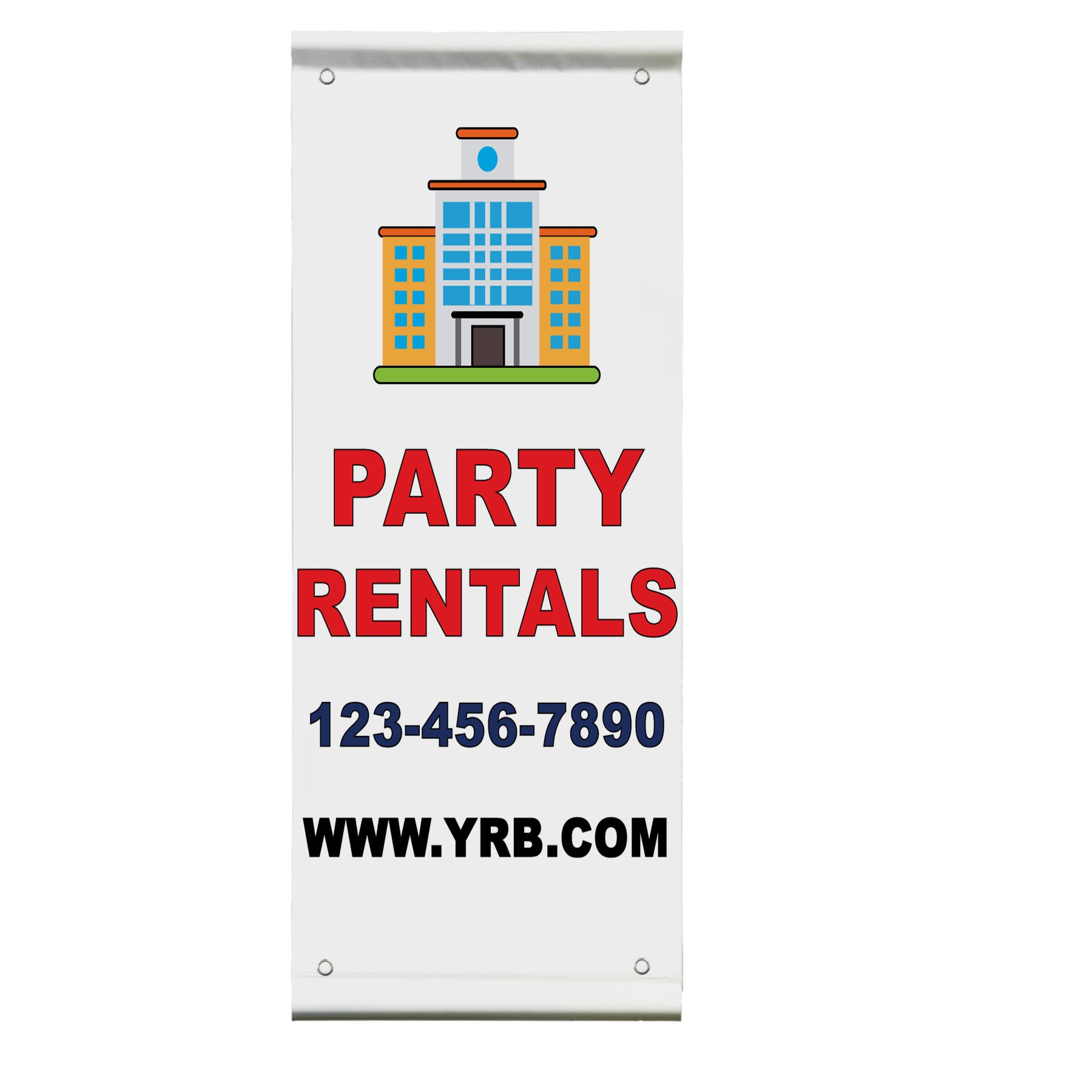 Party Rentals Phone Custom Red Blue Custom Double Sided Pole Banner Sign 30 in x 60 in w/ Wall Bracket