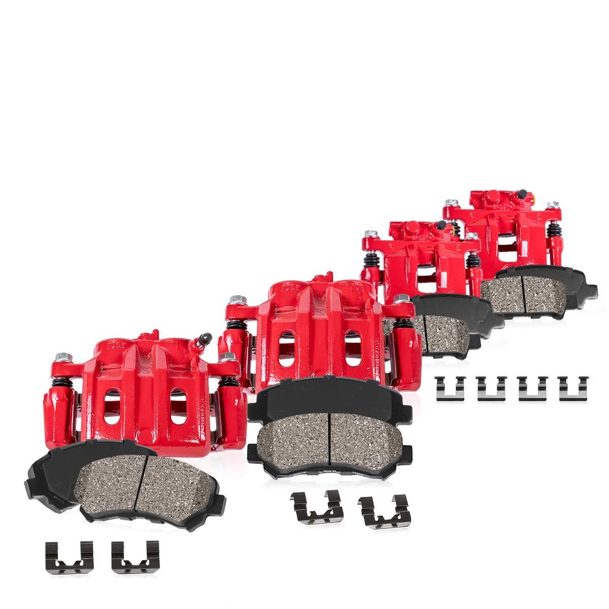 for Chevrolet GMC FRONT 4 REAR Premium Performance Brake Calipers Hardware Ceramic Pads Callahan CCK07368