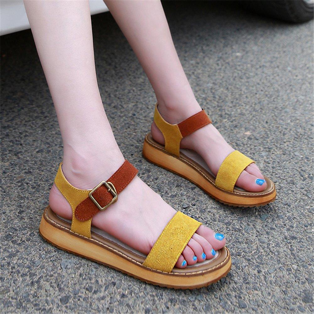24XOmx55S99 Women's Summer Platform Fashion Peep-Toe Platform Summer Sandals Beach Shoes B07BTDZPG4 43/12 B(M) US Women|Yellow 1f7580