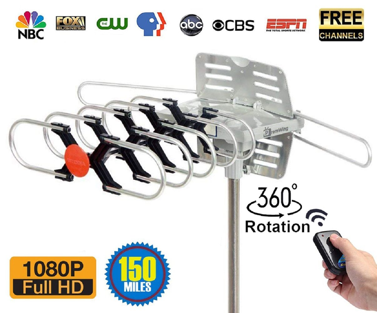 Outdoor Digital TV Antenna - Premwing 150 Miles Long Range HD Amplified Antenna for Free Channels FM/VHF/UHF Signal, Dual TV Outputs Support & 360 Degree Motorized Rotation