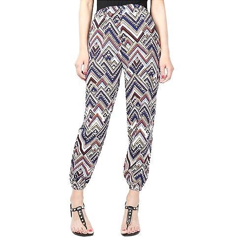 YuanDian Mujer Nacional Viento Casual Tamaño Grande Gasa Estampado Cintura Elástica Harem Pantalones Talle Alto Ancho Aladdin Pantalones