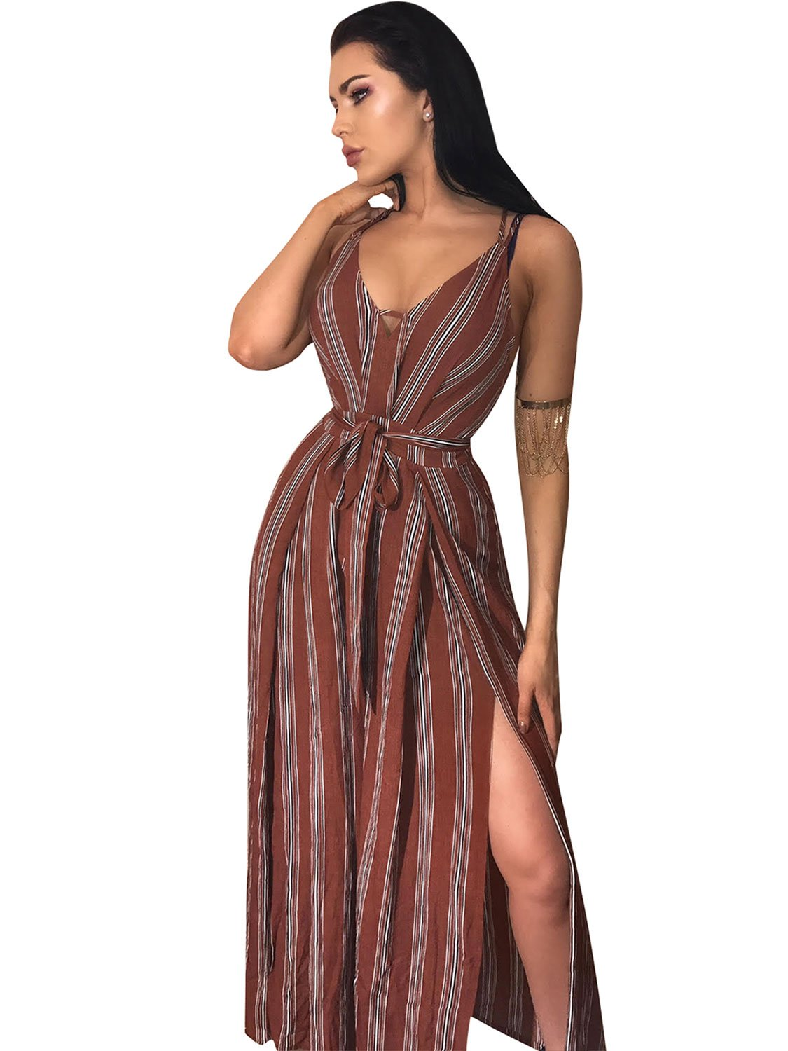 Glamaker Women's Sexy Backless V Neck Stripped Wide Leg Long Jumpsuits with High Splits, Reddish Brown, 10