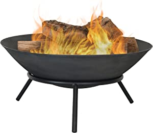 Sunnydaze Cast Iron Fire Pit Bowl - Outdoor 22 Inch Fireplace - Wood Burning Patio & Backyard Firepit - Small Round Portable Sturdy Stand