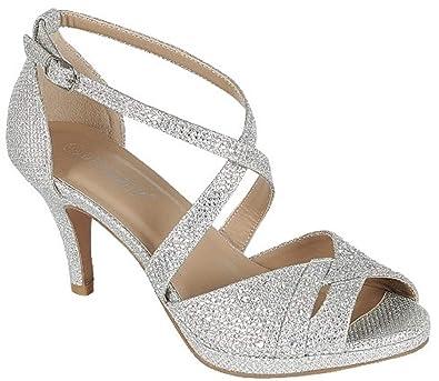 f17bb43900f Delicacy Excited-90 Women Party Evening Dress Bridal Wedding Rhinestone  Platform Kitten Low Heel Sandal