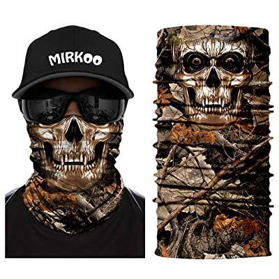 MIRKOO 3D Breathable Seamless Tube Face Mask, Dust-Proof Windproof UV Protection Motorcycle Bicycle ATV Face Mask for Cycling Hiking Camping Climbing Fishing Hunting Motorcycling (SKULL-263): Clothing