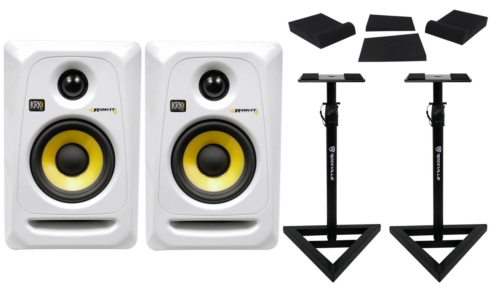 (2) KRK RP4G3W RP4-G3S White Rokit Powered 4'' Studio Monitors+Stands+Foam Pads