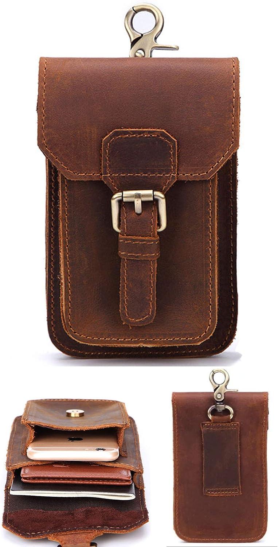 Leaokuu Mens Genuine Leather Small Hook Fanny Waist Bag Hip Bum Pouch Pack 6546 A Coffee