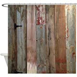CafePress - Rustic Western Barn Wood - Decorative Fabric Shower Curtain