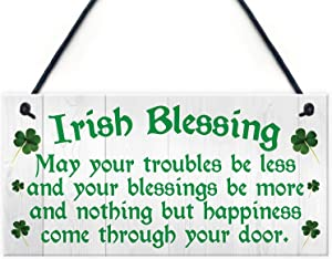 MAIYUAN Irish Blessing Happiness Friendship Wood Signs Gifts Plaque Home Decor Door Sign 12x6(CYL1998)