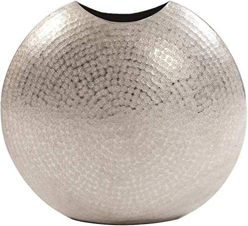 Howard Elliott Frosted Silver Decorative Metal Vase Accent Piece, Large, 15 x 6.5 x 14.25 Inch