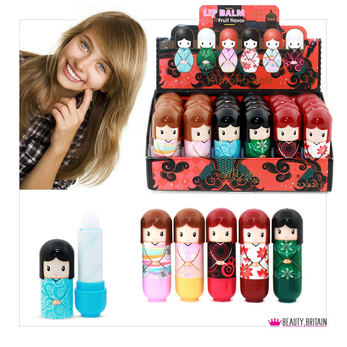 24 x Lip Balm Doll Shaped 6 Different Case Designs Display Box 2.6g Wholesale Price (24 Lip Balms (1 Box)) B4B
