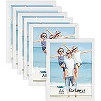Icona Bay A4 Document Frames (White, 6 Pack) Sturdy Wood Composite Certificate Frames, Sleek Diploma Frames Bulk, Table…