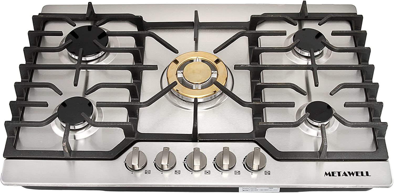 """METAWELL 30"""" Stainless Steel Gold Burner Built-in 5 Stoves Natural Gas Cooktops Cooker"""