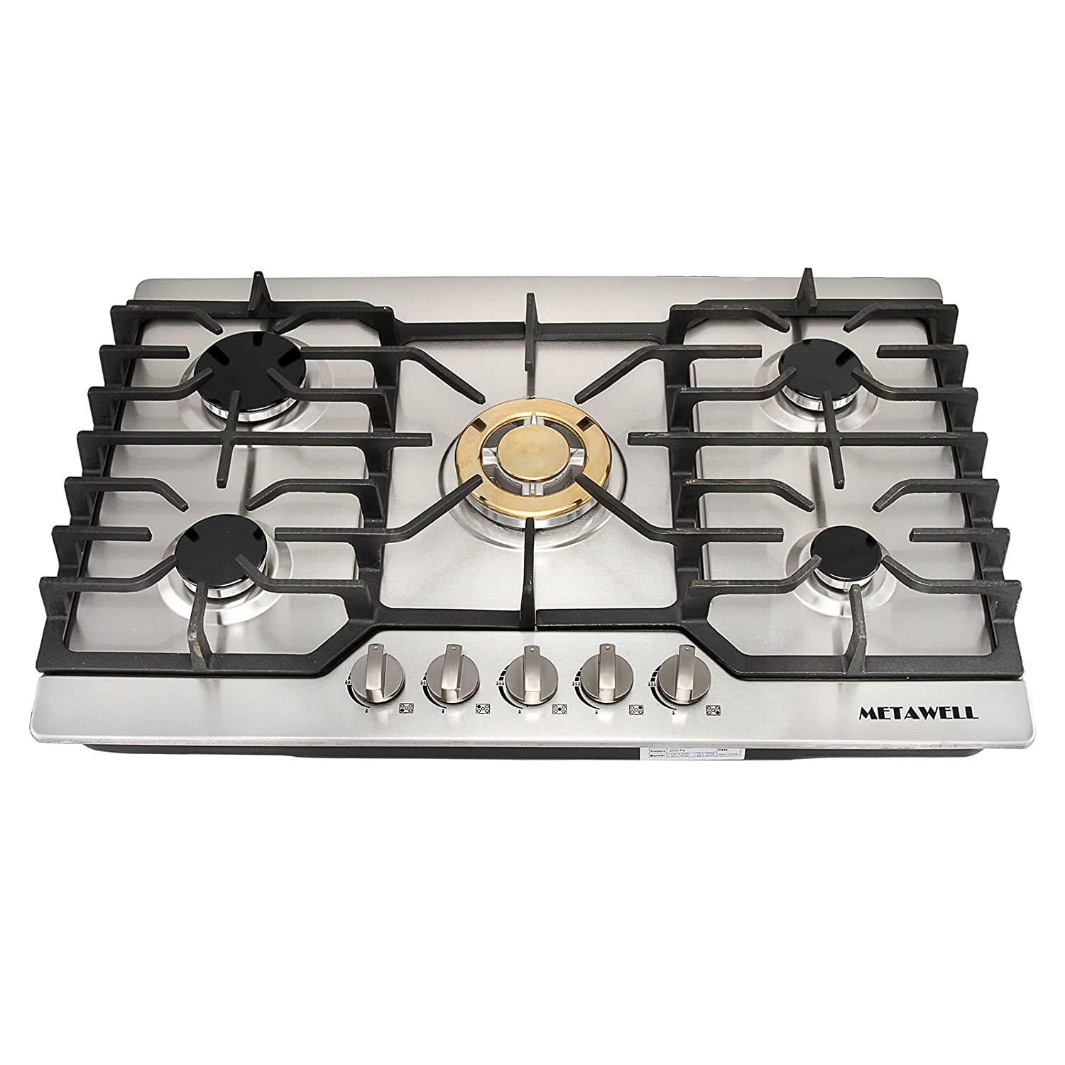 METAWELL 30 Stainless Steel Gold Burner Built-in 5 Stoves Natural Gas Cooktops Cooker