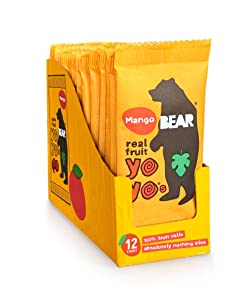 BEAR - Real Fruit Yoyos - Mango - 0.7 Ounce (12 Count) - No added Sugar, All Natural, non GMO, Gluten Free, Vegan - Healthy on-the-go snack for kids & adults