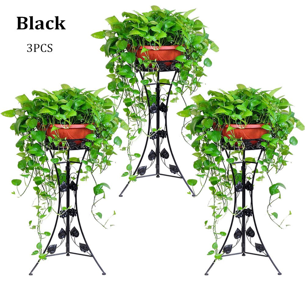 UNHO 3PCS Classic Plant Stand Decorative Metal Garden Patio Standing Plant Flower Pot Rack Display with Modern Three-Dimension Leave Design Black by UNHO