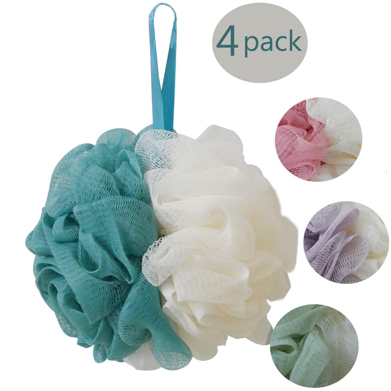 Esponjas de flor Esponja exfoliante de malla Cepillos de cuerpo para exfoliar, limpiar, calmar la piel - 4pcs/pack (50g/pcs) Triwin