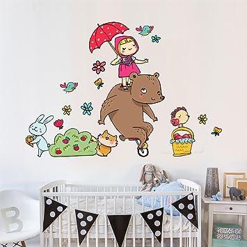 wall art r00297 Pegatinas de Pared para niños, Masha y Oso con Paraguas, 40 x 120 x 0,1 cm, Multicolor: Amazon.es: Hogar