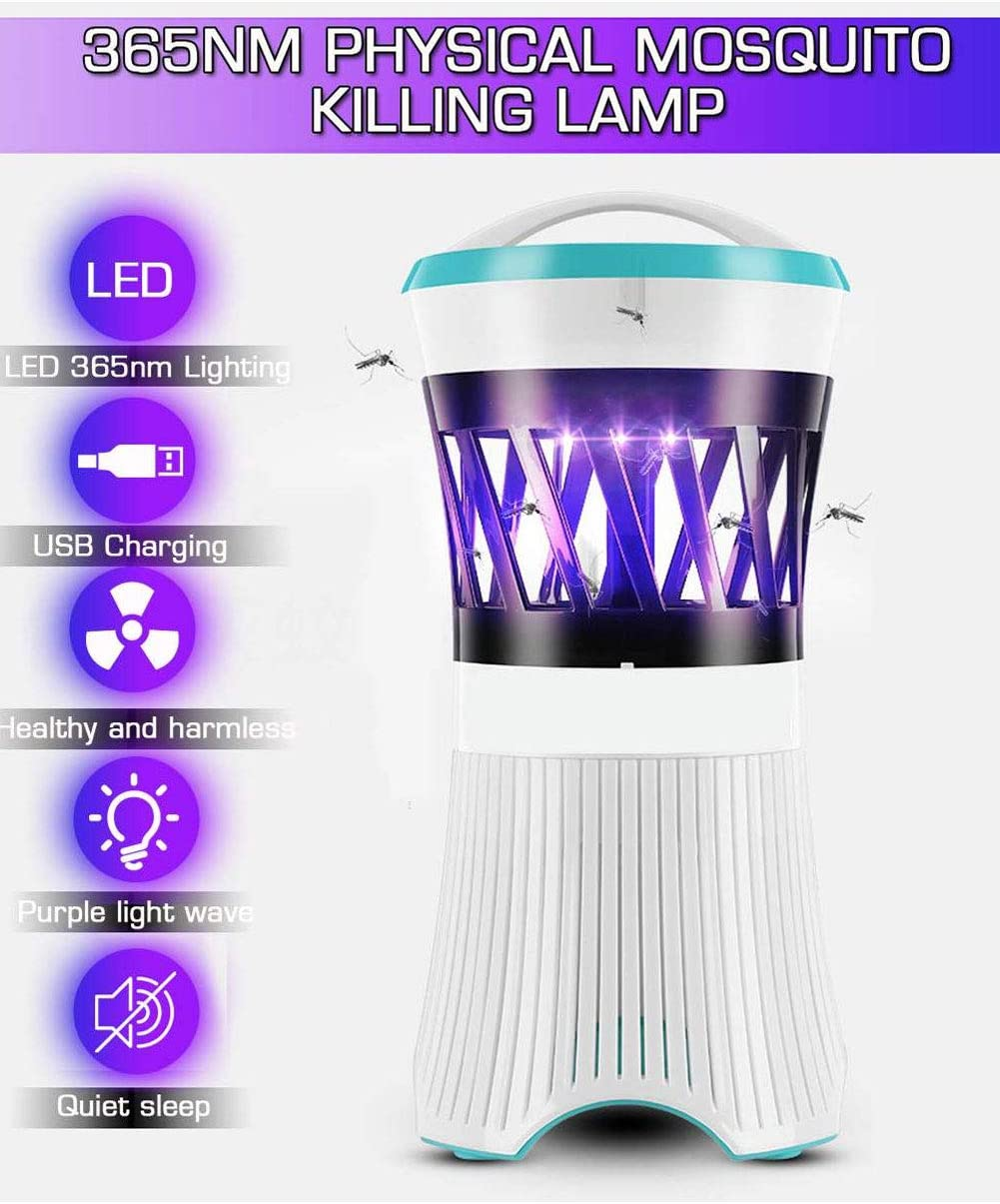 Lampada da Zanzariera Portatile Anti-zanzara Lanterna LED, USB Ammazza Zanzare Bug Zapper for Home Bedroom Baby Room Kitchen Office Use Elettrica Cacciatore Zanzare Blue