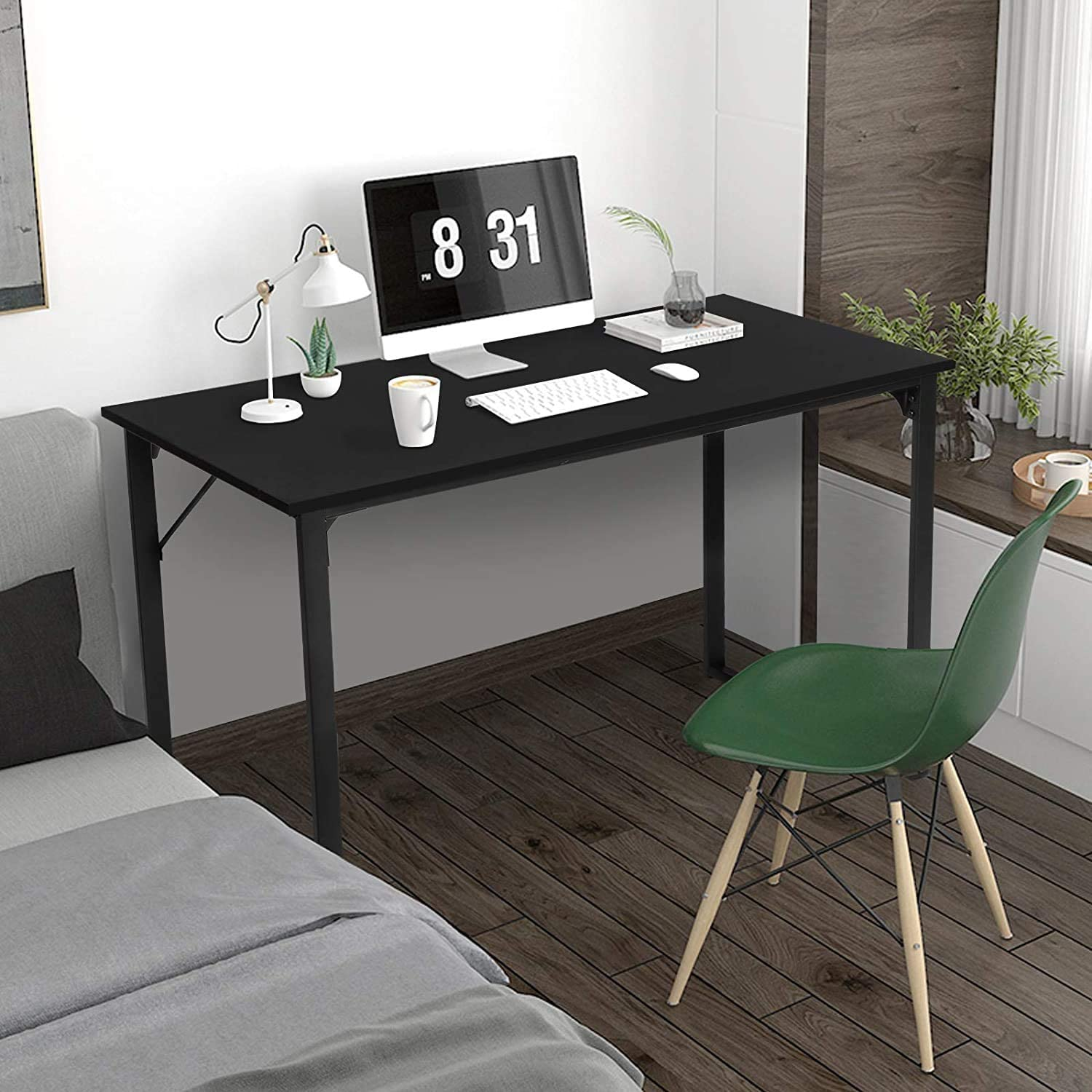 Dining Table Rectangular Kitchen Table Computer Desk Dinner Tables for Small Spaces Dinning Living Room Farmhouse Home Office with Adjustable Footpad