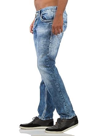 0c0b7e2789ff Amica Herren Jeans Hose Denim straight-cut gerade blau verwaschen mit weiße  Nähte  Amazon.de  Bekleidung