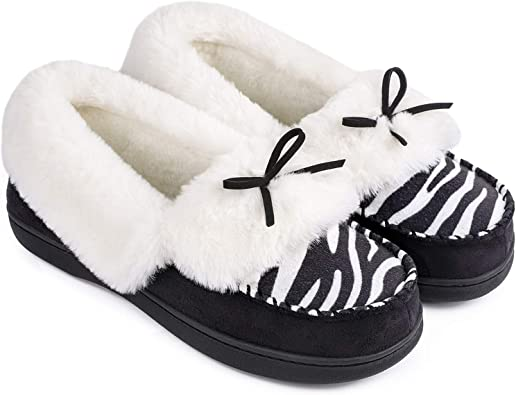 Animal Print Suede Moccasin Slippers