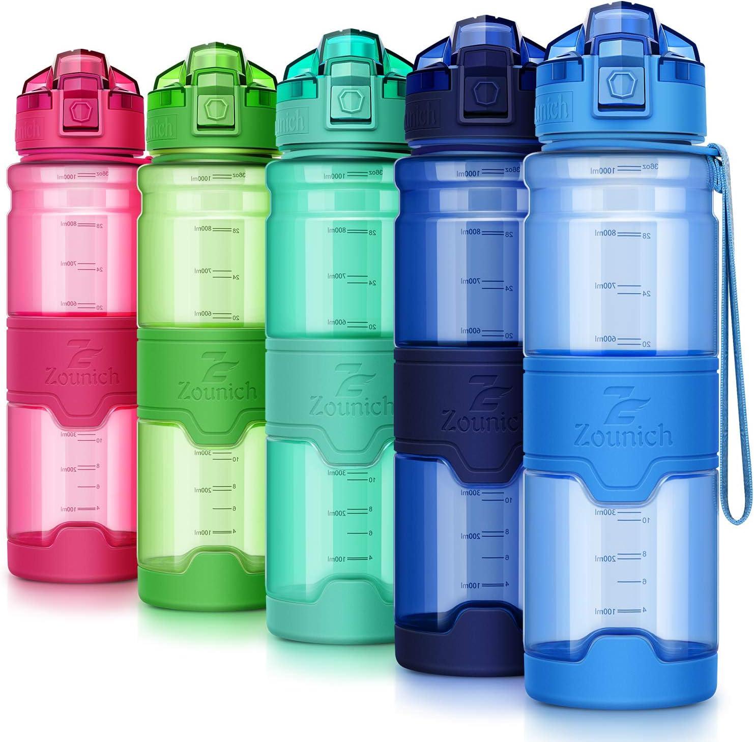 Reutilizable Tritan Pl/ástico Ecologica con Filtro 400ml//500ml700ml//1l Colegio Viajes Bicicleta ZOUNICH Botella Agua Deporte Botellas Agua Ni/ños sin BPA Oficina Cantimploras para Gimnasio