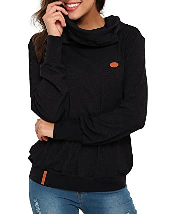 05700a1bb64b SUNNYME Women s Funnel Neck Long Sleeve Hoodies Hooded Sweatshirt Fleece  Sweater Black 2XL