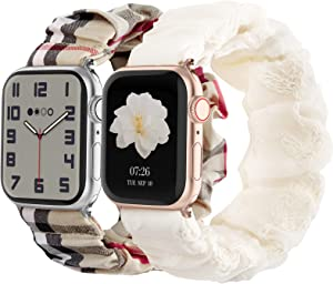 Compatible with Scrunchies Apple Watch Bands 38mm 40mm, Women Cloth Pattern Printed Fabric Wristbands Straps Elastic Scrunchy Band for iWatch Series 6 5 4 3 2 1 SE (Small Lattice, White with Lace)