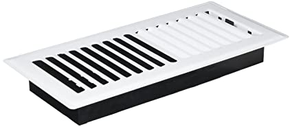Decor Grates LP410-WH 4-Inch by 10-Inch Louvered Floor Register, White