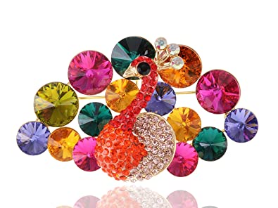 Alilang Swarovski Crystal Elements Rainbow Colors Regal Peacock Bird  Fashion Pin Brooch