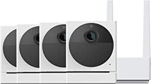 Wyze Cam Outdoor Bundle (Includes Base Station and 4 Cameras), 1080p HD Indoor/Outdoor Wire-Free Smart Home Camera with Night Vision, 2-Way Audio, Works with Alexa & Google Assistant - 4 Camera Kit