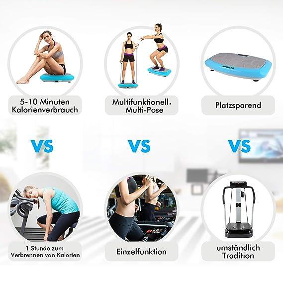 einmaligen Curved Design Trainingsb/änder inkl Vibrationsger/äte Fitness mit Dual-Motoren Grau Fernbedienung Color Touch Display ACEVIVI 3D Vibrationsplatte Oszillierend