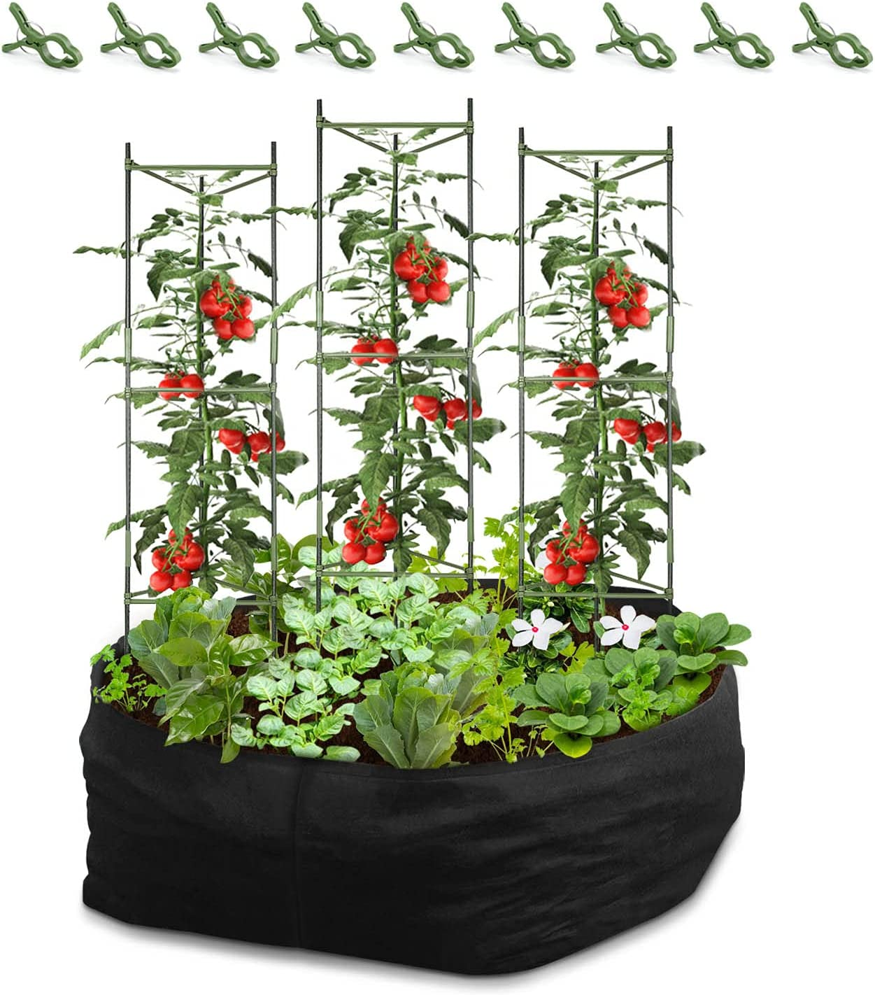 CEED4U 3 Packs 51 Inches Height Plant Cages with 3 x 3 Feet Fabric Raised Garden Bed and 9 Pcs Clips, Assembled Tomato Garden Cage Stakes for Climbing Plants, Tomatoes, Vegetables, Fruits