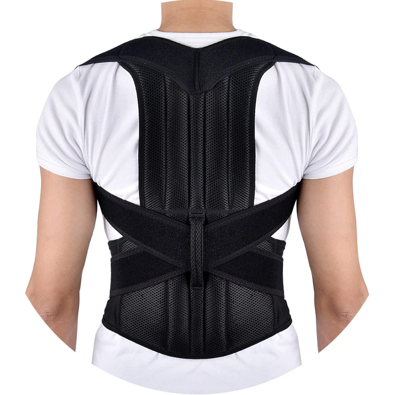 Full Back Corrector Support Shoulder Brace Adjustable Adult Spine Posture Correction Belt Lumbar Men Women,M