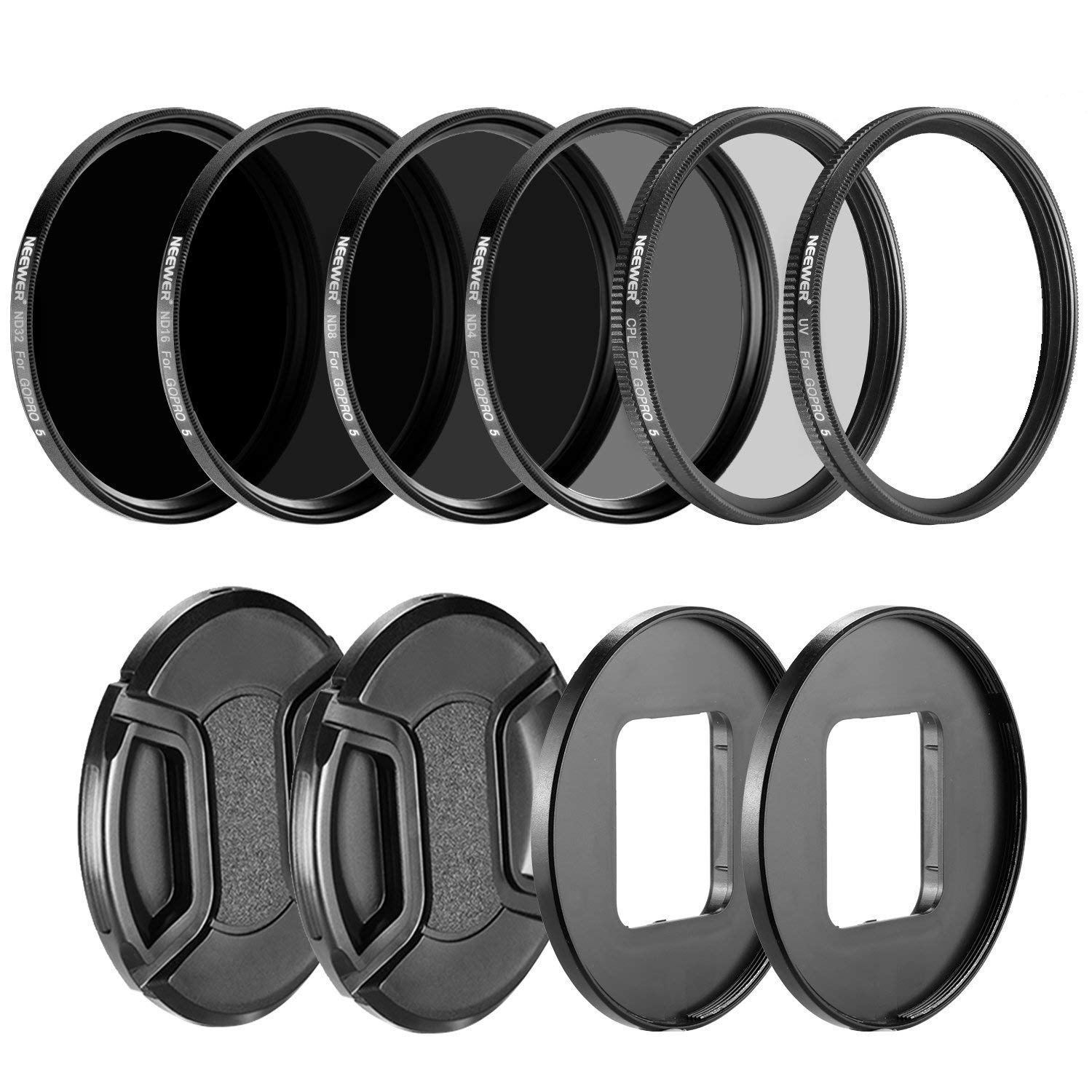 Neewer Camera Lens Filter Kit for GoPro Hero 5/6/7: (4)Neutral Density ND Filter(ND4/ND8/ND16/ND32), (1)UV Filter, (1)CPL Filter, (2)Lens Cap, (2)Lens Adapter Ring by Neewer