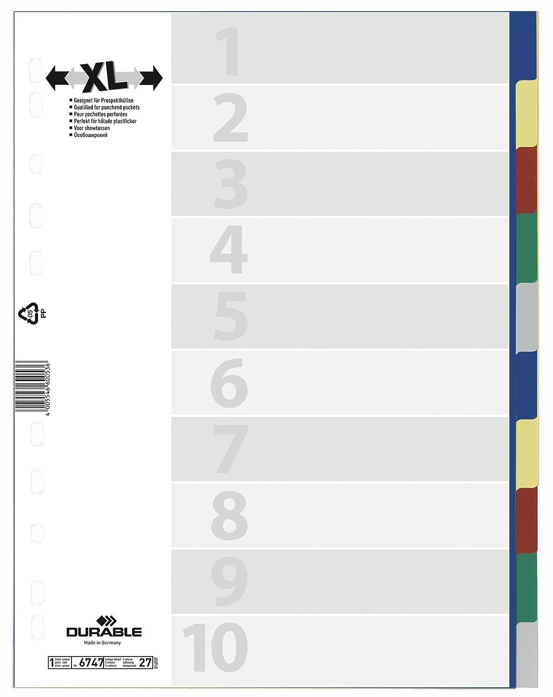 Durable 6747-27 Numeric tab index Polipropilene (PP) Blu intercalare 674727