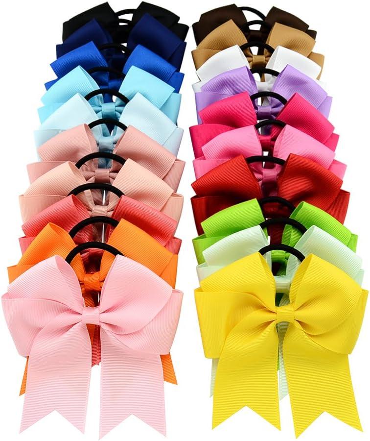 20 lazos de grogrén con banda elástica para el pelo, para niñas/mujeres
