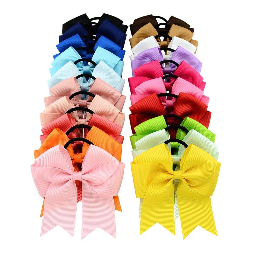 20Stück/lot 11,4cm Ripsband Schleife mit Elastic Hair Band Cheerleading Haar Schleife Pferdeschwanz Haar Halterung für Mädchen/Frauen 20Stück/lot 11 YHXX YLEN
