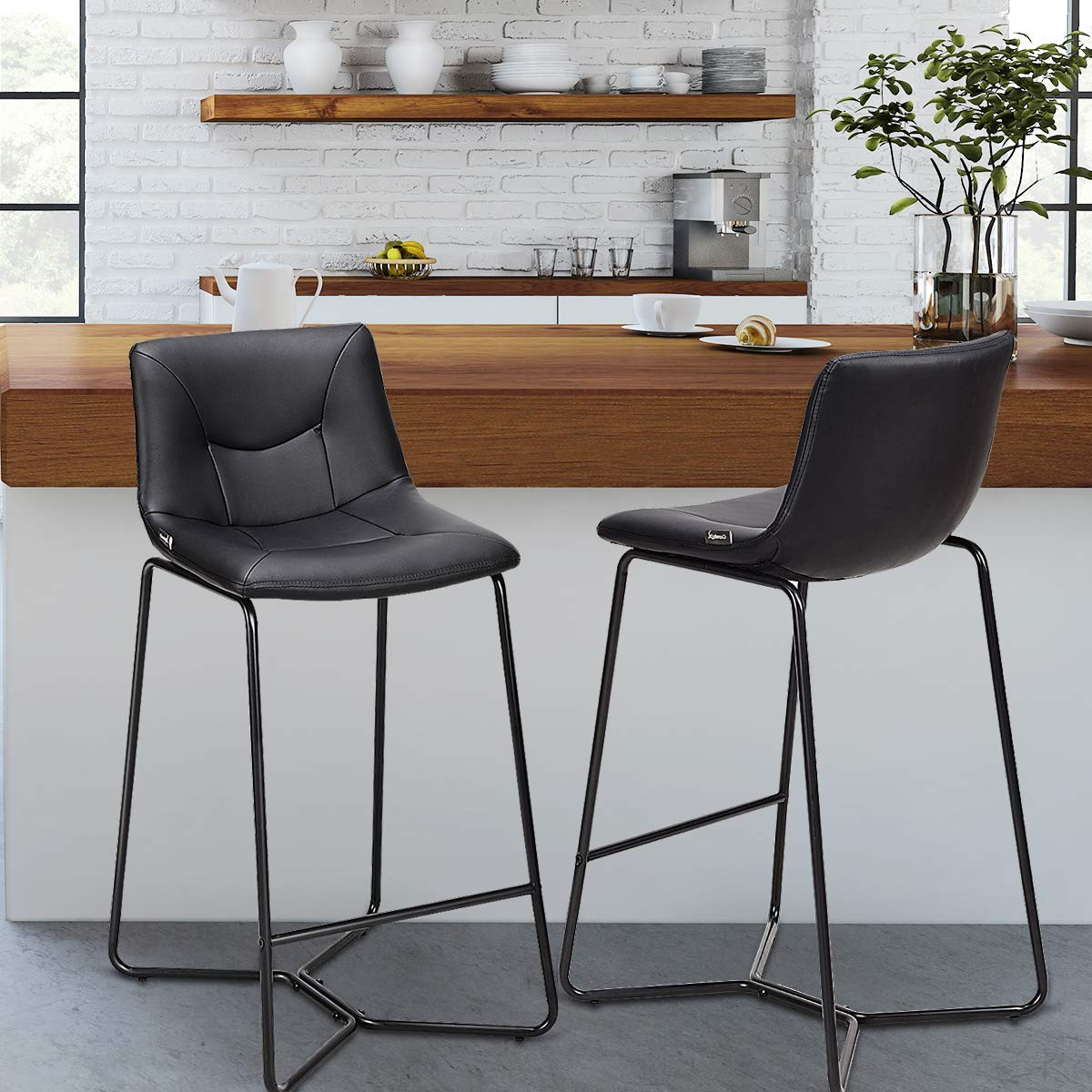 COSTWAY Dining Chair, Vintage Modern Counter Height Armless Back Upholstered Dining Chairs Faux Leather W Metal Legs Pub Dining Kitchen Side Dining Chair Set of 2 Black