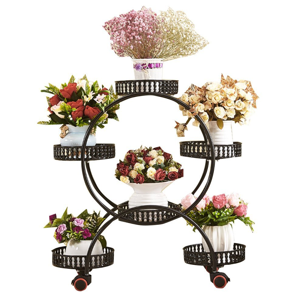 CSQ Wrought Iron Flower Stand, Creative Five Baskets Plant Stand Shelf Multilayer Pulley Living Room Bedroom Balcony Place (Color : C)
