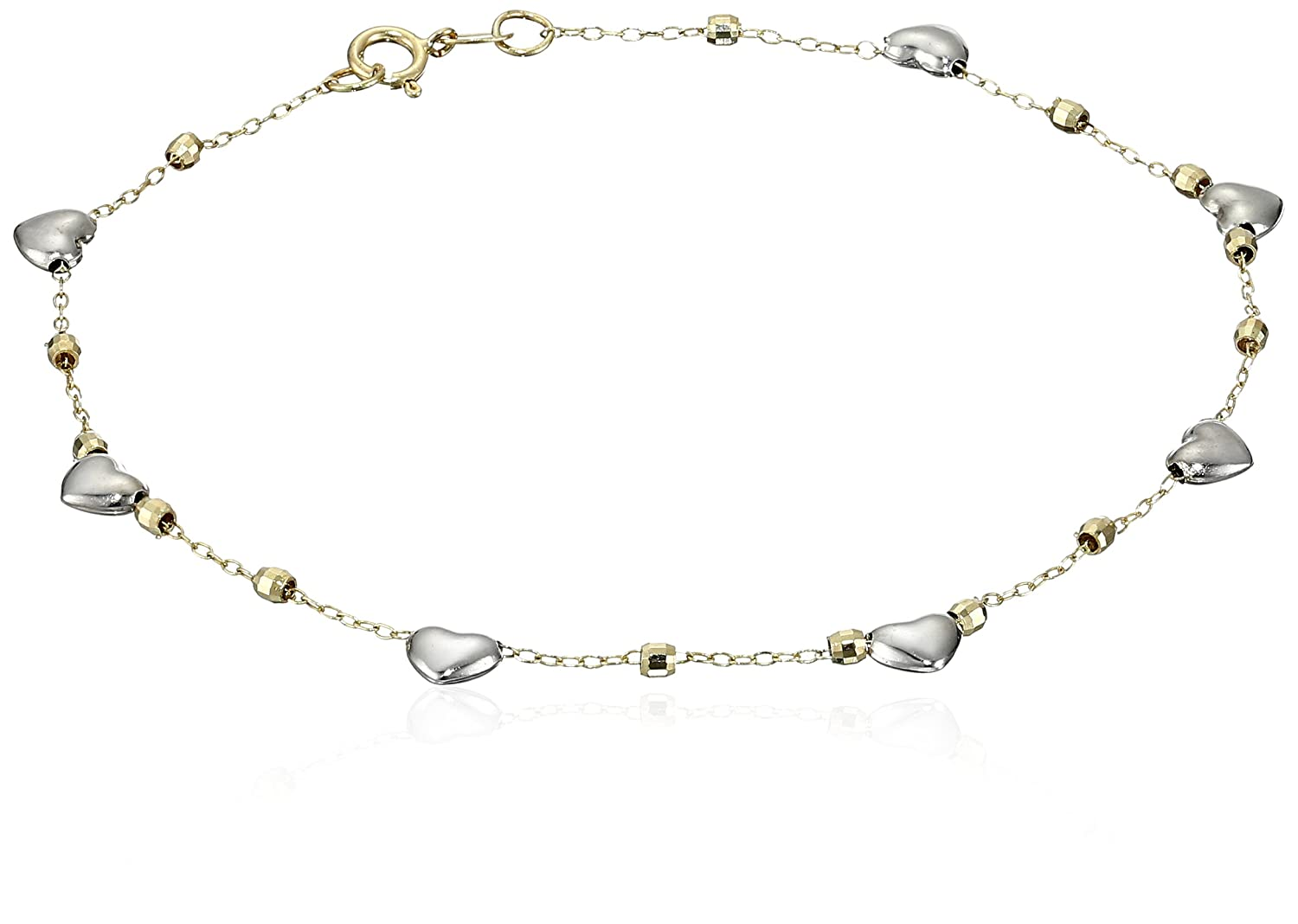 14k Gold Hearts Station and High Polished Bead Bracelet, 7.5""